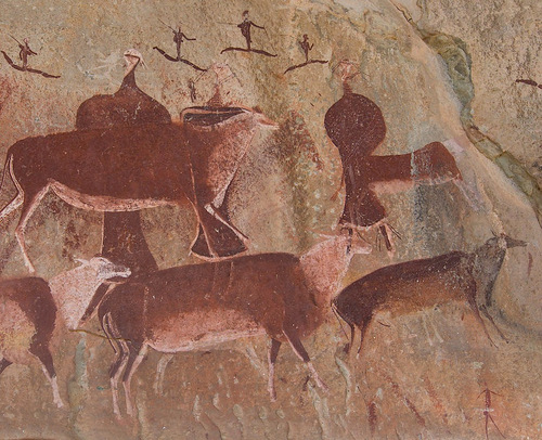 San rock art at Gamepass shelter in the Drakensburg Mountains, South Africa.